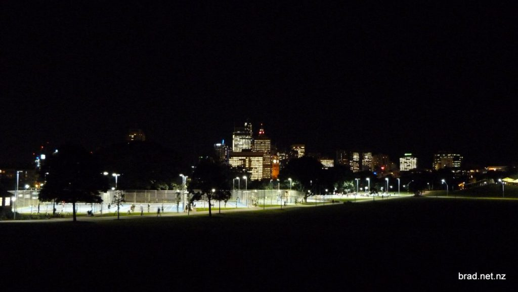 Sydney CBD at night from Prince Alfred Park